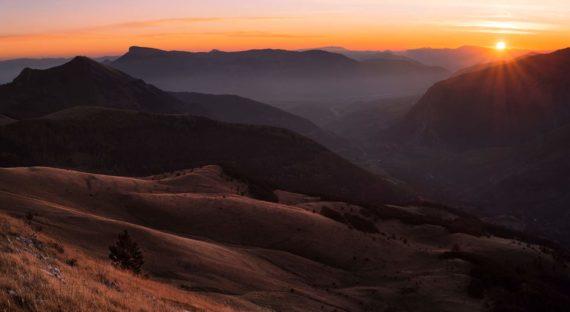 Coucher de soleil sur les crêtes de la vallée de Chaudun (1)