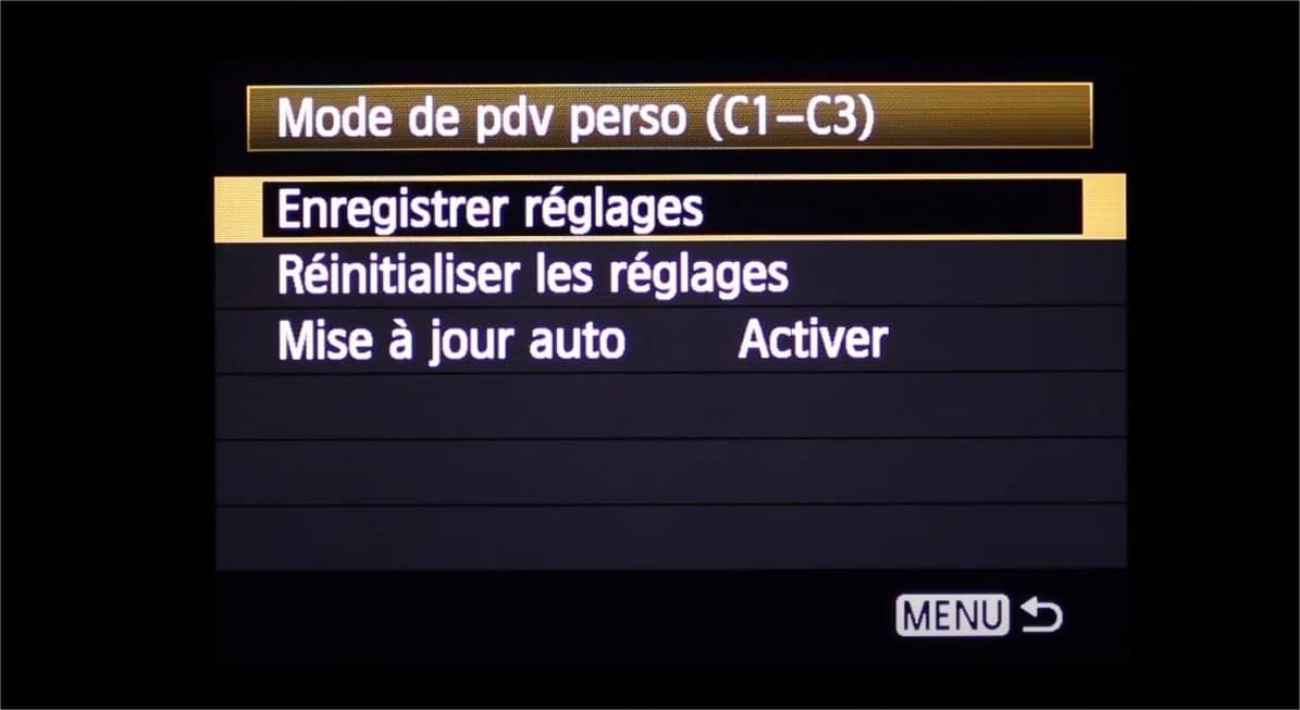 Mode de prise de vue personnalisée chez Canon : explication des modes C1-C3